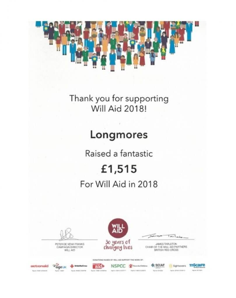 Longmores raise £1,515 for Will Aid 2018