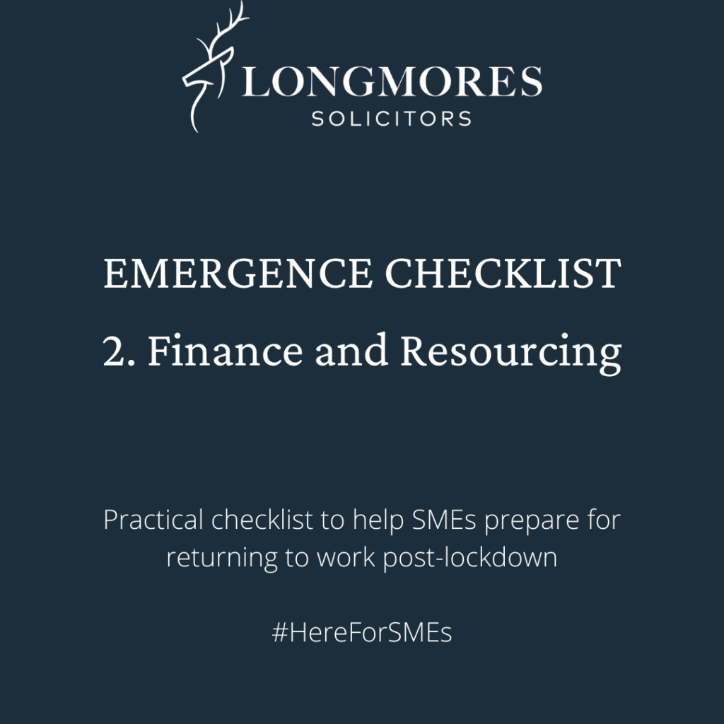Emergence Checklist – 2. Finance and Resourcing