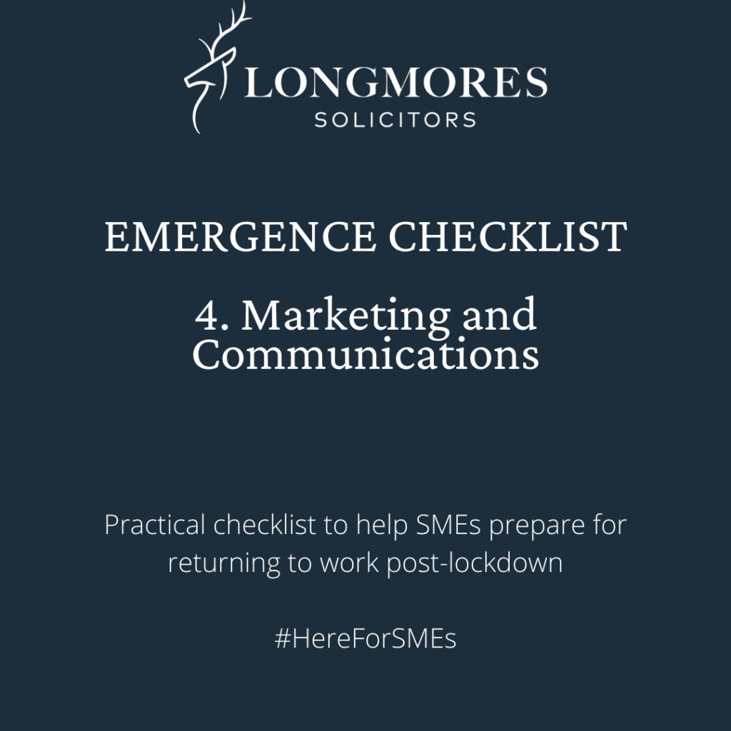 Emergence Checklist – 4. Marketing & Communications